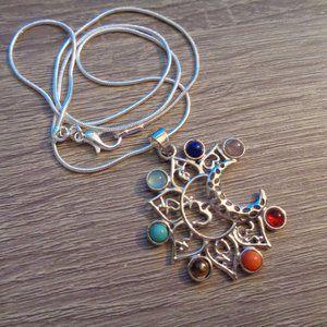 Chakra ohm Moon Necklace Gemstone Chakra Pendant
